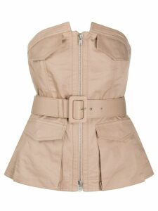 Self-Portrait bandeau belted top - NEUTRALS