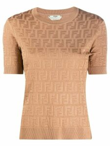 Fendi FF pattern short-sleeved jumper - Brown