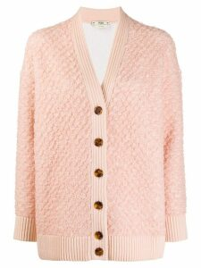 Fendi textured V-neck cardigan - PINK