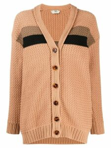 Fendi stripe-detail knitted cardigan - Brown