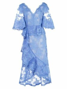 Marchesa lace V-neck midi dress - Blue