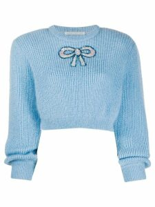 Alessandra Rich crew neck embellished-bow jumper - Blue