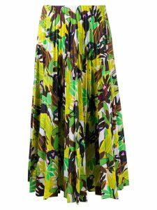 Valentino leaf-print pleated skirt - Green