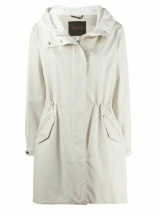 Moorer drawstring hooded coat - NEUTRALS