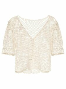 Peony crochet knit top - White