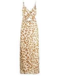 Nanushka leopard print cut-out dress - NEUTRALS
