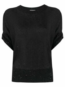 Brunello Cucinelli sequin-embellished knitted top - Blue