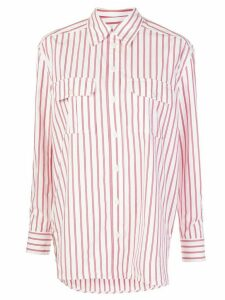 GANNI striped print shirt - White