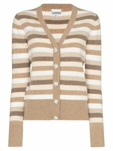 GANNI striped button-front cardigan - NEUTRALS