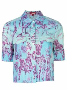 Staud forest print cropped shirt - Blue