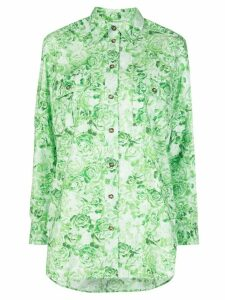 GANNI rose print poplin shirt - Green