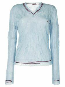 Maison Margiela stripe-detail crease-effect jumper - Blue