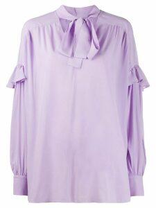 Twin-Set ruffle trim pussybow blouse - PURPLE