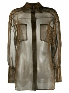 Fendi check-print blouse - Brown