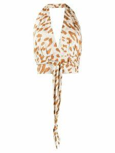 Nanushka leopard print halter top - NEUTRALS