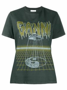 GANNI printed logo T-shirt - Grey
