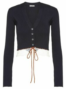 Miu Miu rib-knit lace-trimmed cardigan - Blue