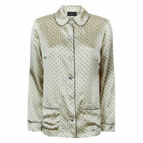 MENG Gold Geometric Silk Satin Shirt