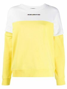 Karl Lagerfeld two-tone embroidered logo sweatshirt - Yellow