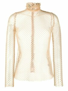 Atu Body Couture fitted net top - NEUTRALS