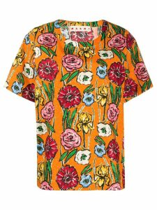 Marni floral-print cotton T-shirt - ORANGE