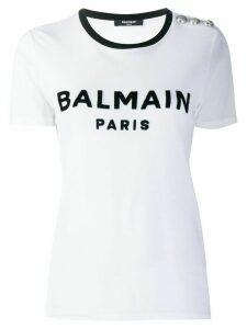 Balmain buttoned logo T-shirt - White