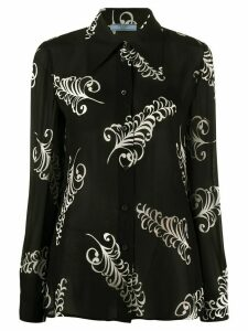 Prada fan motif print shirt - Black