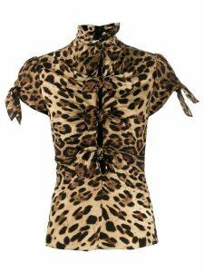 Dolce & Gabbana tie-detail leopard-print blouse - NEUTRALS