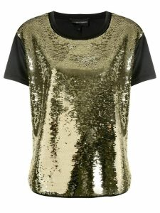Emporio Armani sequin embellished front T-shirt - GOLD
