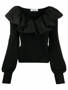 Valentino ruffled collar long-sleeved blouse - Black