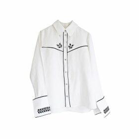 Florence Bridge Embroidered Cowboy Shirt (white)