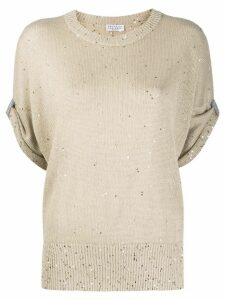 Brunello Cucinelli sequin-embellished knitted top - NEUTRALS