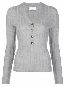 Allude button down V-neck top - Grey