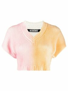 Jacquemus two-tone ribbed top - PINK