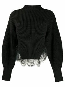 Self-Portrait one-shoulder ribbed knit jumper - Black