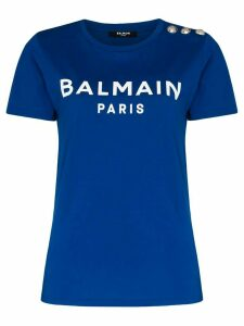Balmain logo-print cotton T-shirt - Blue