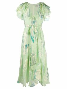 Temperley London sequin leave print dress - Green