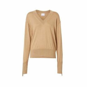 Burberry Logo Detail Merino Wool Silk Sweater
