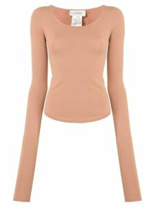 Lemaire scoop neck jersey knit T-shirt - PINK