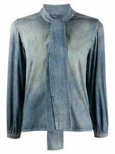 Saint Laurent pussy-bow embellished denim shirt - Blue