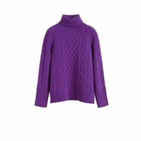 Chinti & Parker Purple Pop Aran Merino Wool Sweater