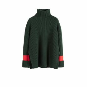 Chinti & Parker Green Rib Merino Wool Rollneck Sweater