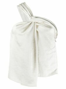 Nanushka satin one-shoulder blouse - NEUTRALS