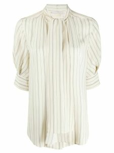 Chloé striped pussy-bow blouse - NEUTRALS