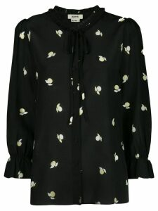 Jason Wu printed tied-neck blouse - Black
