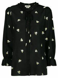 Jason Wu printed tied-neck blouse - Black