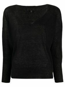 Nili Lotan v-neck linen jumper - Black
