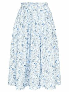 ANOUKI floral print gathered midi skirt - Blue