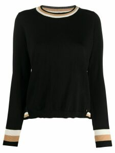 Twin-Set striped trim slim-fit jumper - Black