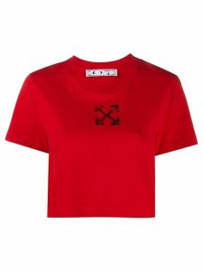 Off-White cropped logo print T-shirt - Red